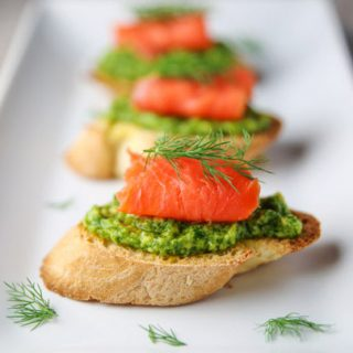 Smoked Salmon Avocado Dill Crostini