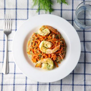 Spiralized Carrots with Shrimp in a Coconut Lemon Dill Sauce