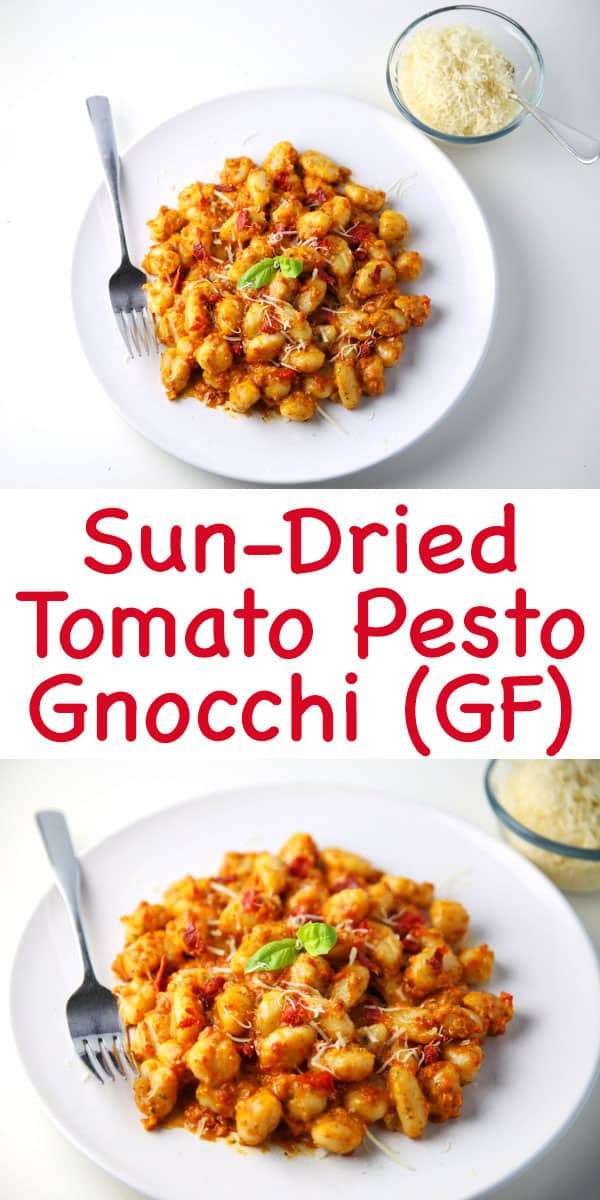 This Sun-Dried Tomato Pesto Gnocchi (Gluten Free) can be made in less than 10 minutes and is so delicious! Perfect for those busy week nights!