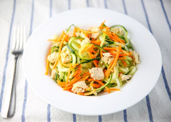 This Tuna Salad with Lemon Carrots and Spiralized Cucumber is so easy to make, healthy, and so flavorful!