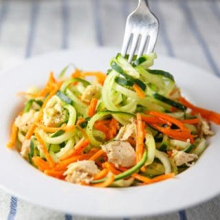 Tuna Salad with Lemon Carrots and Spiralized Cucumber