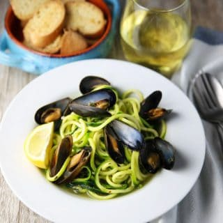 White Wine Mussels with Zucchini Noodles