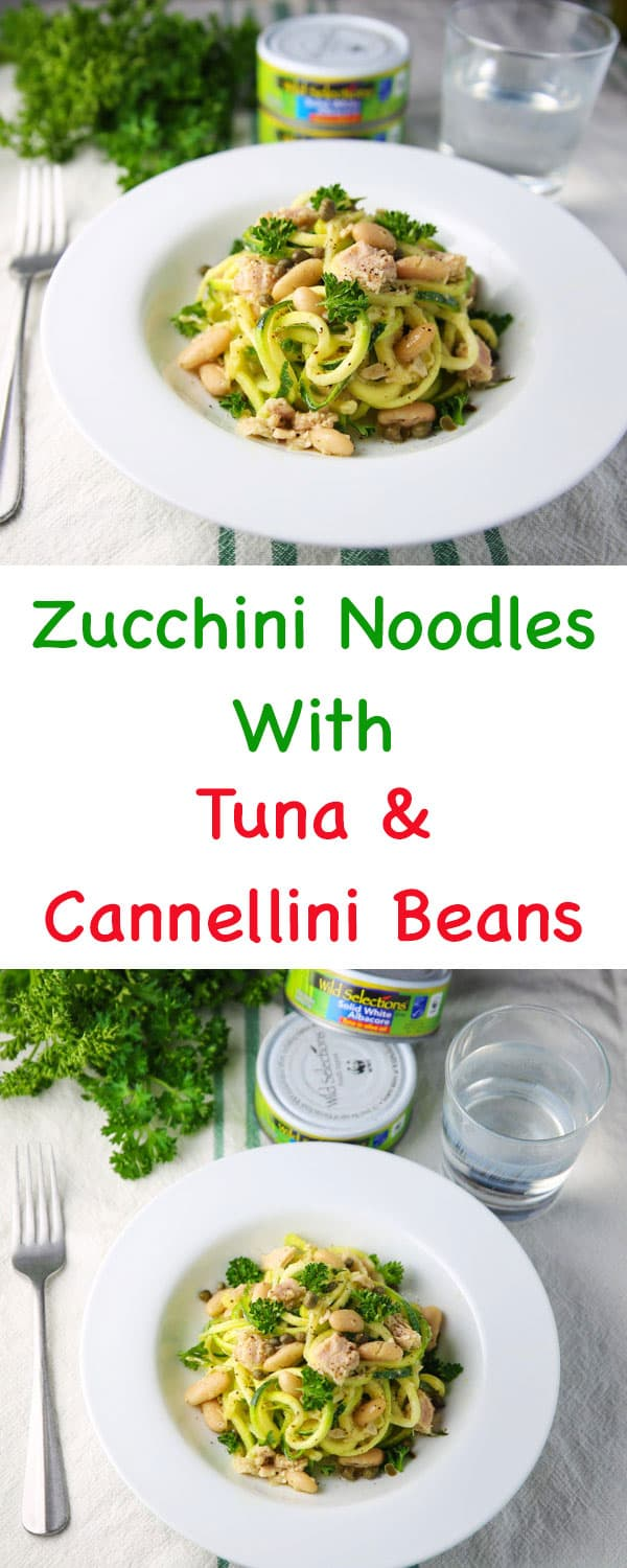 #ad Zucchini Noodles with Tuna and Cannellini Beans, a savory, light, and healthy meal that everyone will love! Tastefulventure.com made in partnership with @wildselections #WildSelections #SelectSustainable https://www.pinterest.com/wildselections/