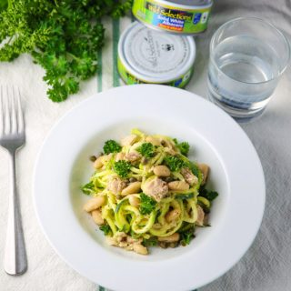Zucchini Noodles with Tuna and Cannellini Beans