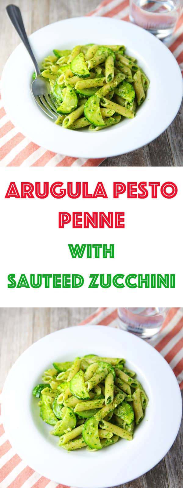 This Arugula Pesto Penne with Sautéed Zucchini can be made in about 10 minutes, making this perfect for those busy weeknights! This is such a light and savory pasta dish!