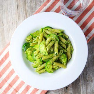 Arugula Pesto Penne with Sautéed Zucchini