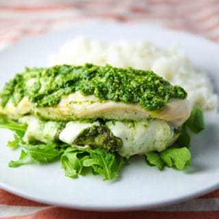 Baked Chicken stuffed with Arugula Pesto and Mozzarella