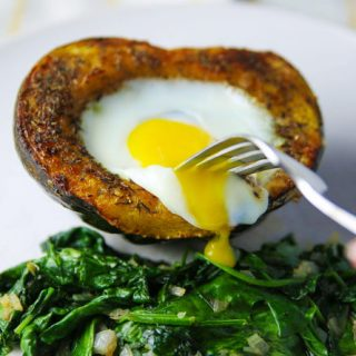 Roasted Acorn Squash with Baked Eggs