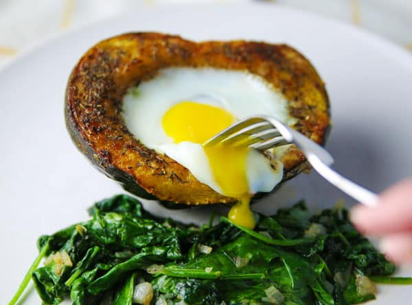Roasted Acorn Squash with Baked Eggs is perfect for breakfast, brunch, or anytime of the day!