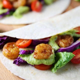 Spicy Shrimp Tacos with Avocado Cilantro Sauce