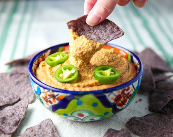 "This Vegan Jalapeño Cashew ""Cheese"" Dip is loaded with flavor. This will be a hit at your next party for sure!"