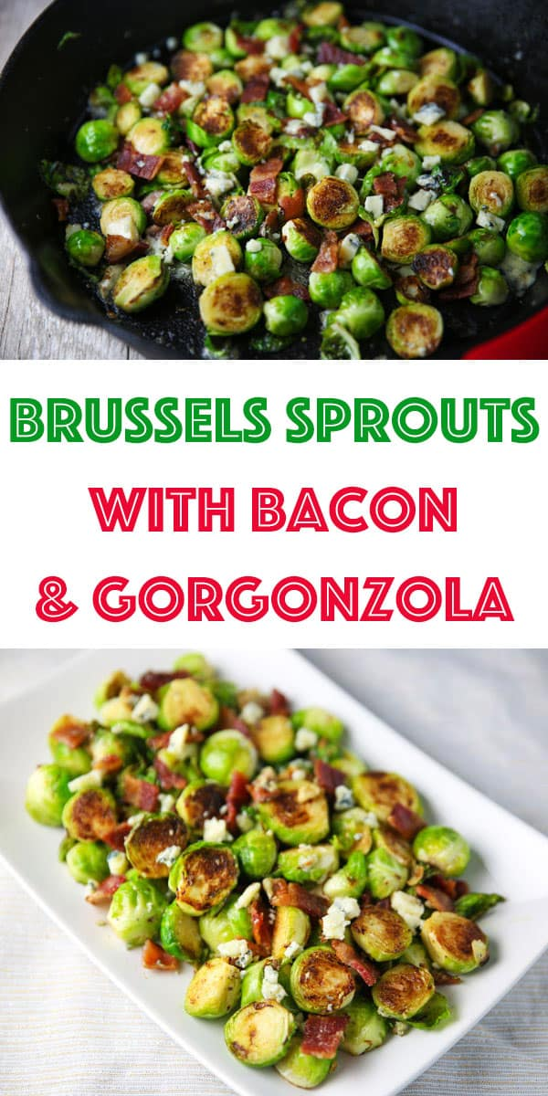 These Brussels Sprouts with Bacon and Gorgonzola could be the perfect side dish! The Brussels get cooked right in the Bacon grease, then with the mixed in Gorgonzola, this is absolutely drool worthy!
