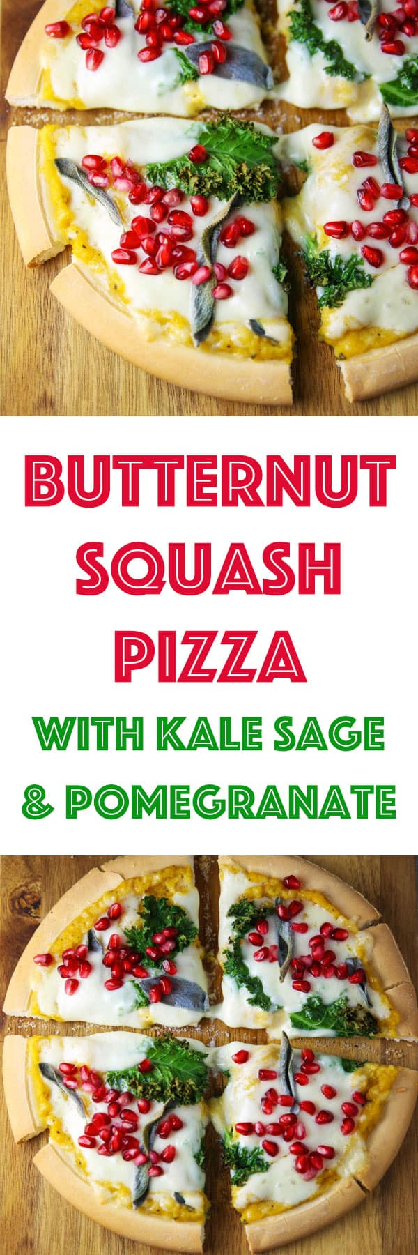 This Butternut Squash Pizza with Kale Sage and Pomegranate is so cheesy, savory, and 100% Delicious! #glutenfree