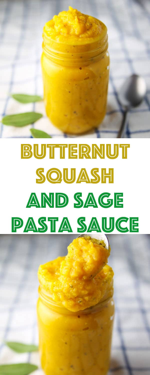 This Butternut Squash and Sage Pasta Sauce is so easy to make! Add it to your favorite pasta for a cozy fall meal!