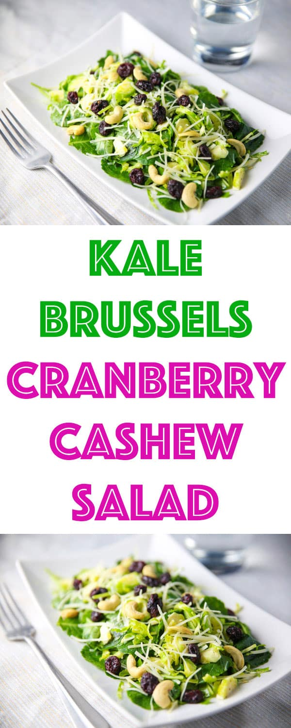 This Kale Brussels Cranberry Cashew Salad is so light, healthy, and full of flavor!