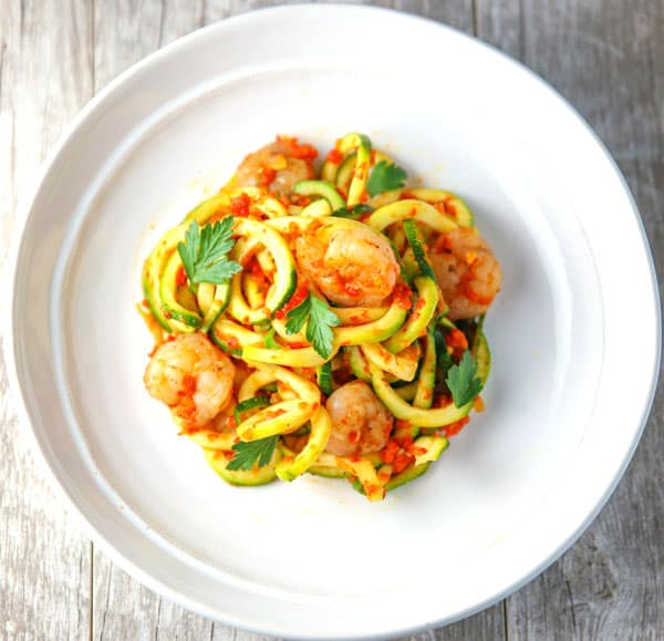 These Sautéed Shrimp with Zucchini Noodles in a Roasted Red Pepper Sauce are a healthier alternative to pasta and incredibly delicious!