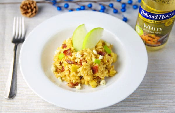 AD You guys are going to love this Apple Bacon and Gorgonzola Risotto with Holland House Cooking Wine! This is the perfect meal for around the holidays - it's creamy, comforting, and so savory! Made in partnership with @hollandhousecw