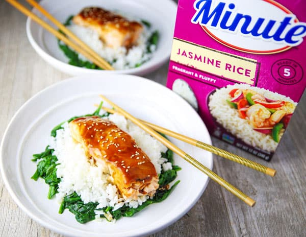 #Ad These Asian Salmon Rice Bowls come together in less than 30 minutes and are so flavorful. Trust me, this will be your new favorite weeknight dinner!