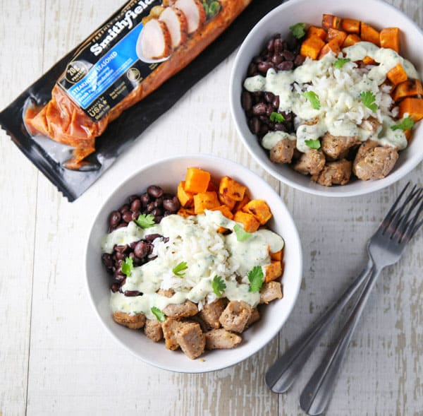These Steakhouse Pork Tenderloin Bowls with Cilantro Garlic Sauce can be made in about 30 minutes making it perfect for those busy weeknights! | Tastefulventure.com in partnership with @walmart @smithfieldbrand #ad #SmithfieldFast #RealFlavorRealFast #dinner #recipes #pork