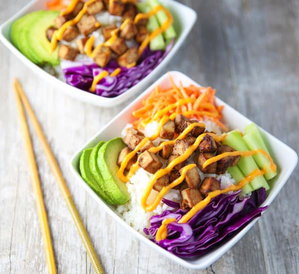 These Baked Tofu Sushi Bowls with Spicy Mayo are super easy to make and are loaded with flavor! You may never want to order take-out again!