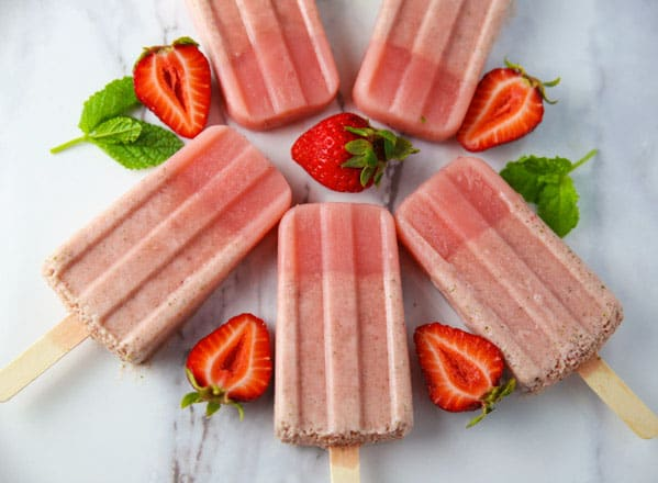 These Healthy Strawberry Mint Popsicles will be your new favorite summer treat! Made with simple fresh ingredients and dairy free!