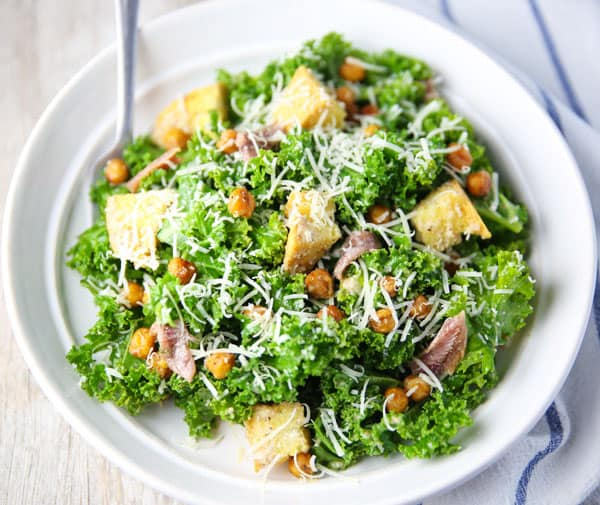 Kale Caesar Salad with Spicy Roasted Chickpeas