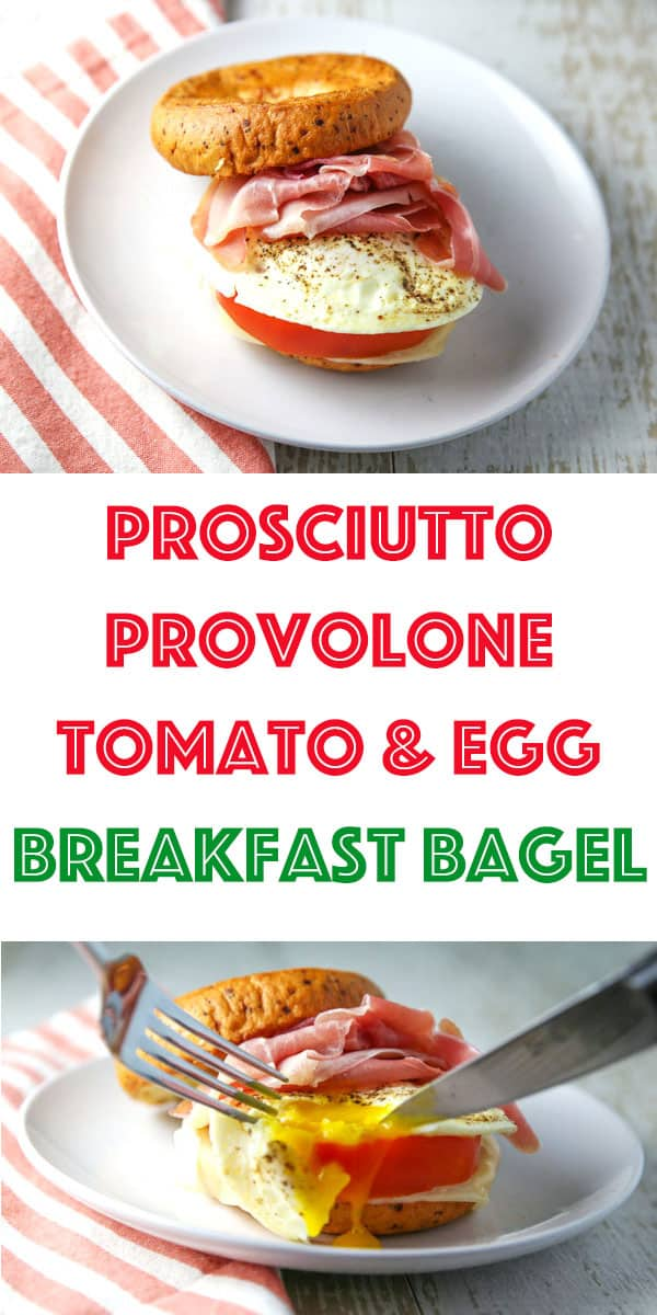 Breakfast just got a whole lot better with this Prosciutto Provolone Tomato and Egg Breakfast Bagel! #glutenfree #breakfast #brunch #bagel #breakfastbagel