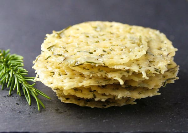 These Rosemary Parmesan Crisps are made with just 2 ingredients! These are a scrumptious Low Carb snack!