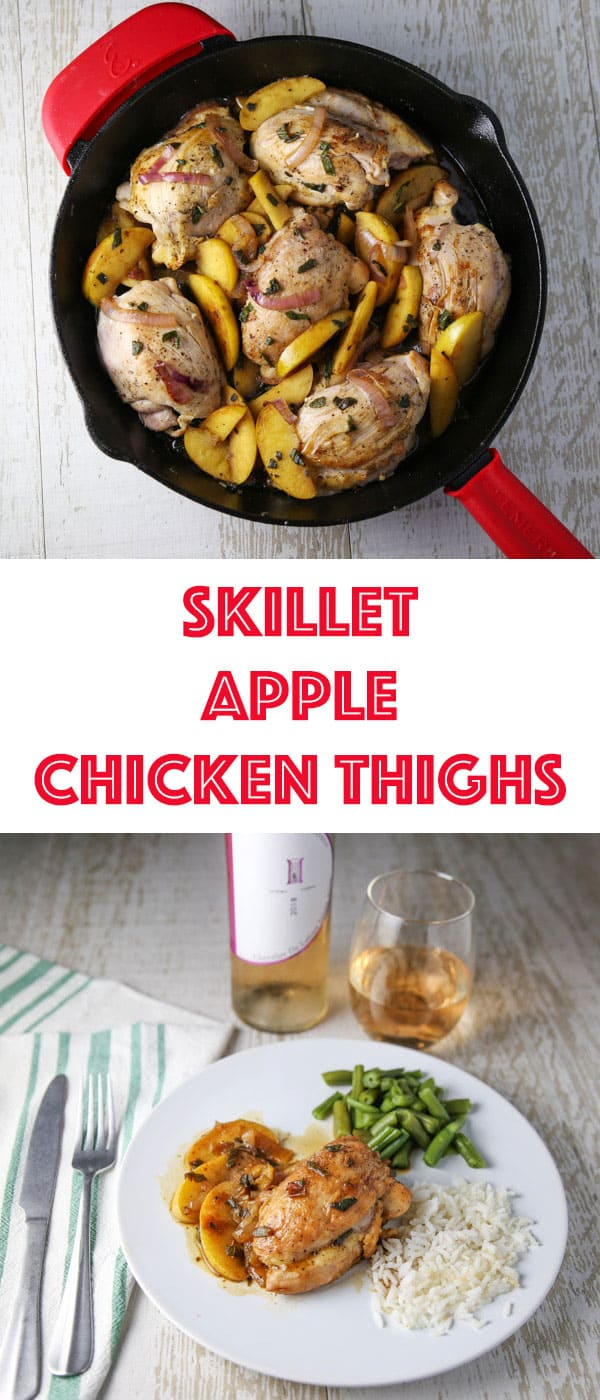 These Skillet Apple Chicken Thighs are an easy peasy weeknight dinner! The Chicken is so tender, juicy, and savory!