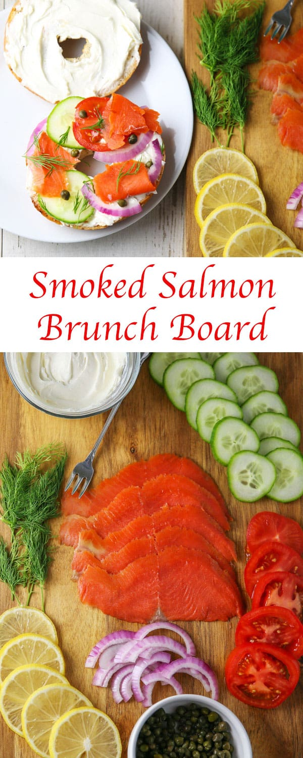 Up your Brunch Game with this Smoked Salmon Brunch Board! This is super easy to put together at the last minute and can feed a crowd! #salmon #smokedsalmon #brunch #breakfast #charcuterie #appetizer #partyideas