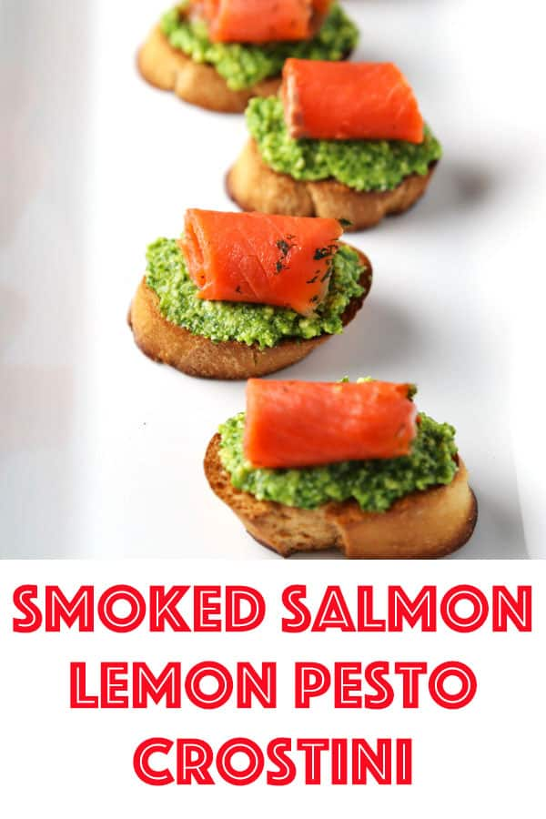 This Smoked Salmon with Lemon Pesto Crostini is an easy peasy appetizer that everyone will love! #appetizer #salmon #pesto #glutenfree #easyrecipes