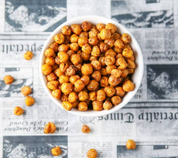 These Spicy Roasted Chickpeas are made with simple ingredients. This could be the perfect healthy snack!