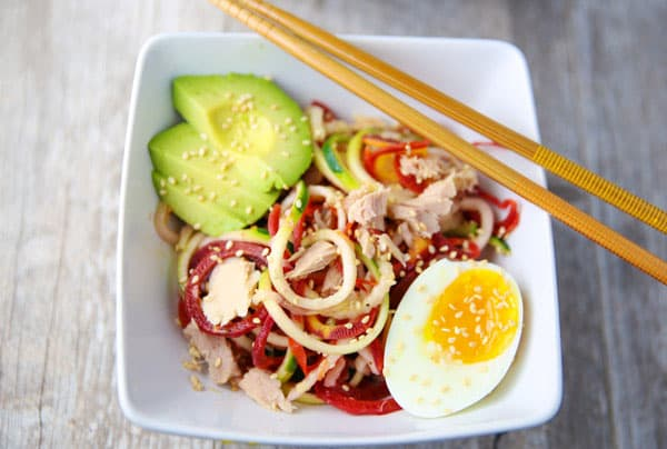 These Spiralized Zucchini Carrot and Tuna Asian Bowls are light, healthy, and oh so savory! This takes Asian Bowls to a whole new level!