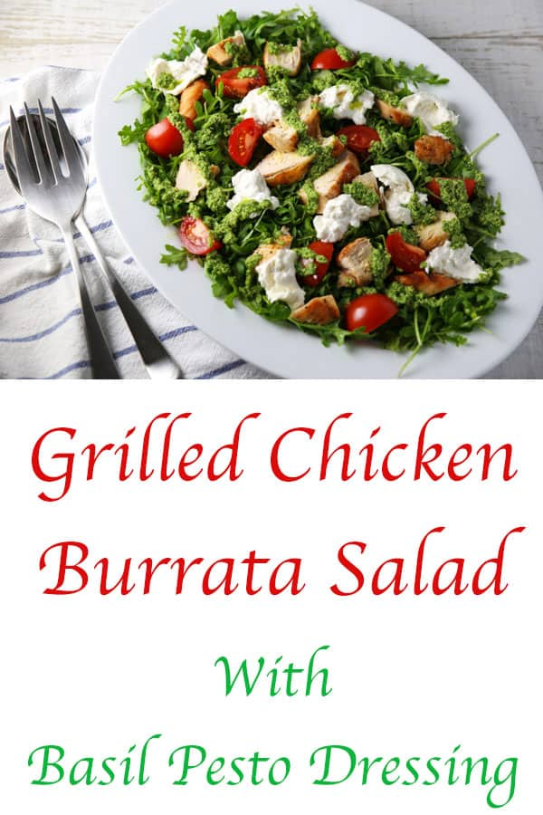 This Grilled Chicken Burrata Salad with Basil Pesto Dressing is loaded with flavor! Trust me, this will be your new favorite salad to enjoy year round! #keto #glutenfree #salad #burrata #healthyrecipes #grilling #chicken
