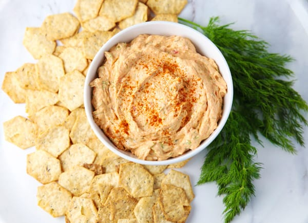 This Smoked Salmon Dip is super easy to make! It's so creamy, savory, and has the perfect amount of smoky flavor. It is sure to be a hit at your next party! #appetizer #appetizers #seafood #smokedsalmon #dip #partydip #salmon