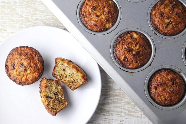 These Gluten-Free Banana Muffins with Cacao Nibs are so moist and delicious! These are perfect for breakfast meal prepping! #glutenfree #bananamuffins #muffins #breakfast