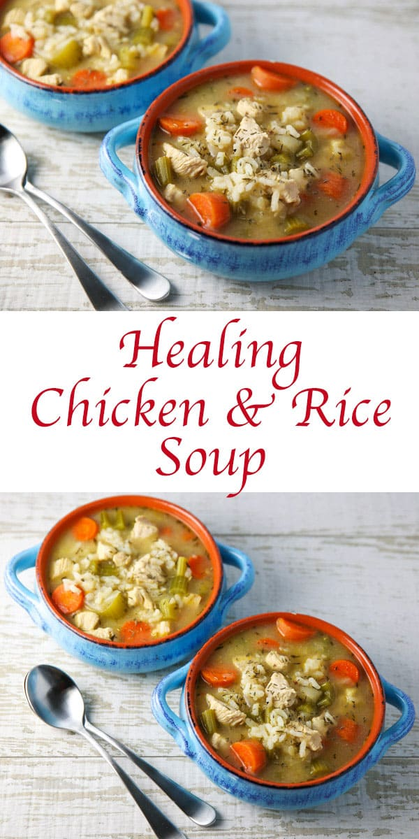 This Healing Chicken and Rice Soup is the perfect comfort food! I recently made this when I had a cold and instantly felt better after eating this! #chicken #rice #soup #glutenfree #superfoods