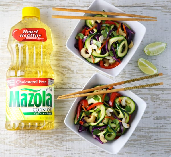 This Vegetarian Zucchini Noodle Pad Thai is hearty, healthy, and can be made in under 30 minutes! ad #MazolaHeartHealth #vegetarian #padthai #thai #glutenfree #healthy