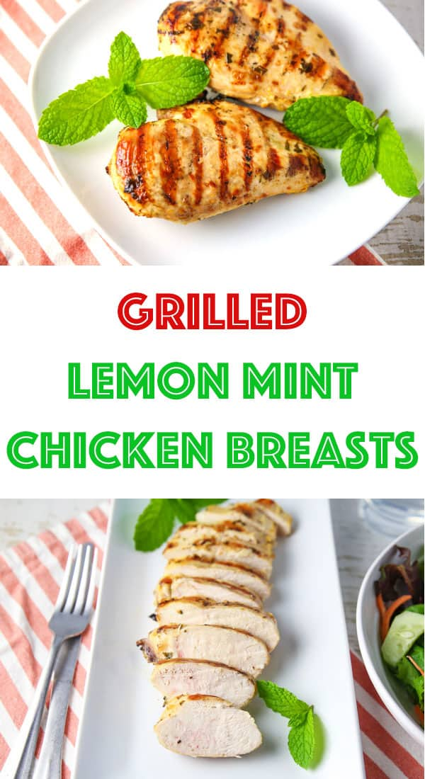 These Grilled Lemon Mint Chicken Breasts are made with a simple marinade with ingredients you probably already have on hand. The Chicken is so tender, juicy, and 100% savory! #grilled #chicken #lowcarb #glutenfree #keto