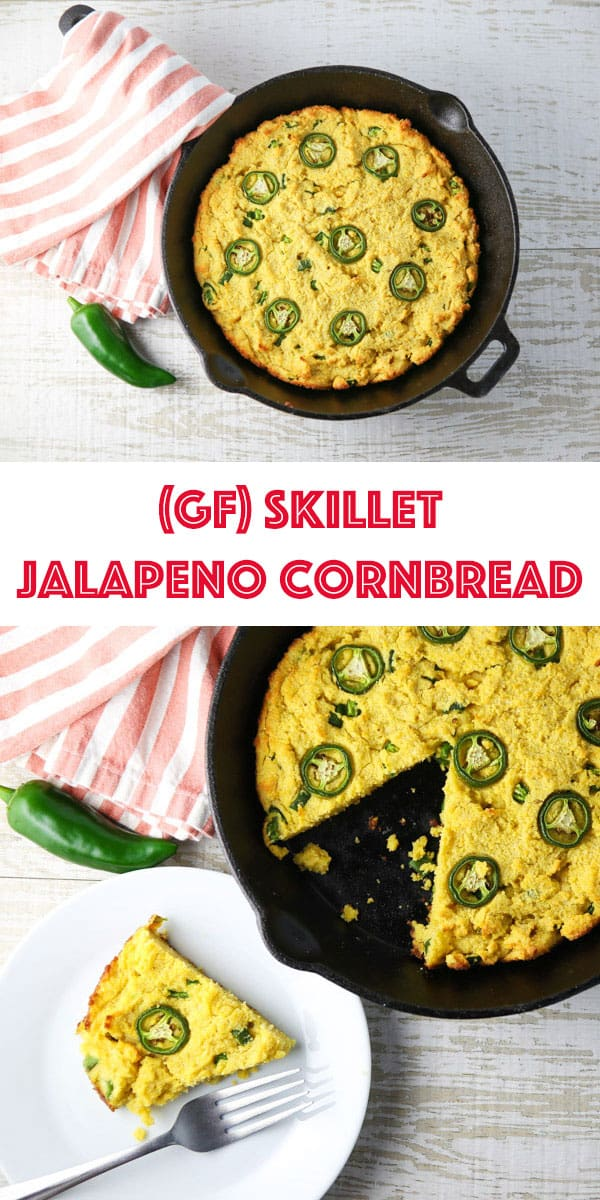 This Skillet Jalapeño Cornbread is super easy to make. It literally only requires 5 minutes of prep work! It's loaded with Jalapeños which gives it a nice spicy kick! #glutenfree #jalapeno #cornbread #southern