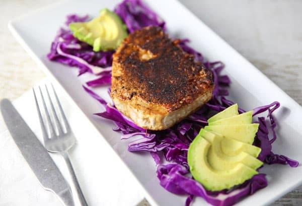 Blackened Tuna Steaks on a salad