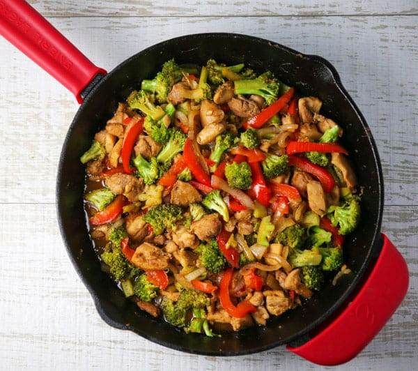 Chicken and Broccoli Stir Fry in a skillet