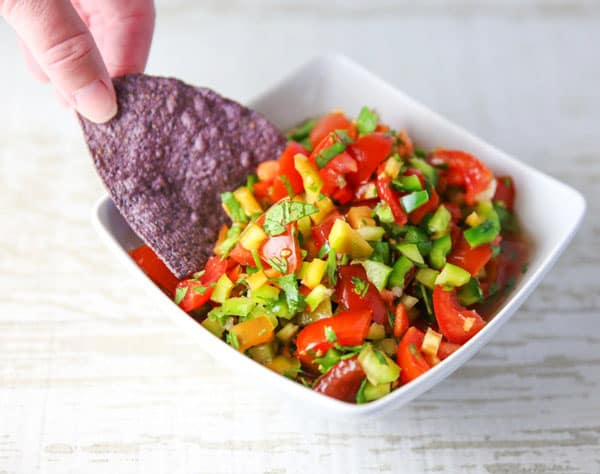 Fresh Spicy Salsa with chips
