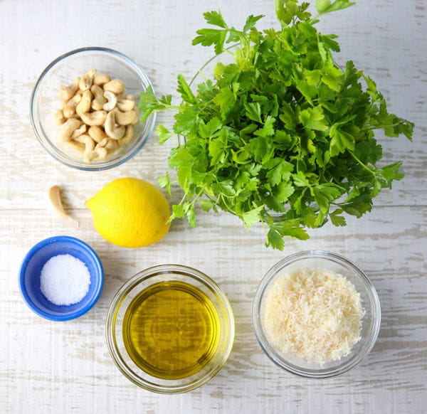Ingredients for lemon pesto