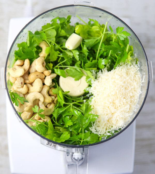 Lemon Pesto ingredients in a food processor