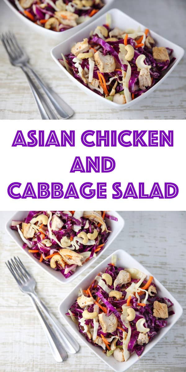 Asian Chicken and Cabbage Salad in a Pinterest pin
