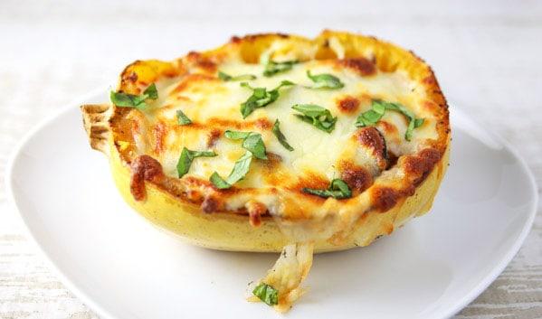 Margherita Spaghetti Squash Pizza Boat