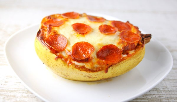 Pepperoni Spaghetti Squash Pizza Boat