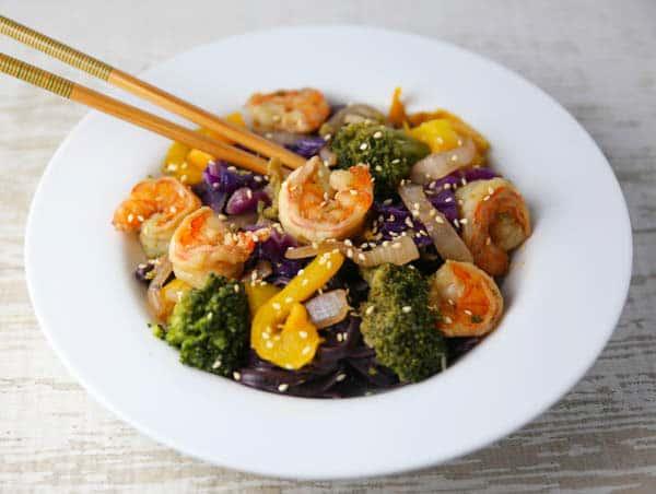 Shrimp Stir Fry with chopsticks
