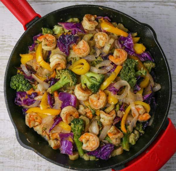Shrimp Stir Fry in a skillet